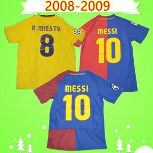 Barcelona jersey barca # 10 MESSI 2008 2009 de fútbol retro camiseta de local camiseta de fútbol de época clásica de distancia verde Alves Henry Camiseta de futbol 08 09 A.INIESTA