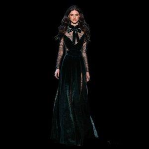 2020 Yeni Elie Saab Abiye Giyim Vintage Artı boyutu Koyu Yeşil vestidos Festa ile Kollu Yüksek Boyun Güz Dantel Abiye Uzun