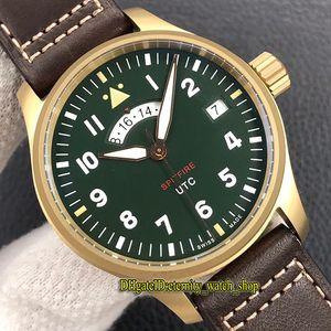 ZF Top Pilot Spitfire истребитель серии Bronze Дело MJ271 IW327101 UTC Dual Time Zone Зеленый циферблат A2836 Автоматическая Мужские часы Дизайнерские часы