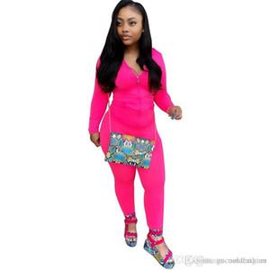 Primavera Pure Color Designer donne tute sportive con cappuccio signore 2PC insieme casuale Panelled allentato femminile Abbigliamento con Pocket