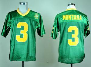 Hombres 1977 Vintage Joe Montana College Camisetas de fútbol Verde # 3 Joe Montana Camisetas de fútbol cosidas 30th Patch
