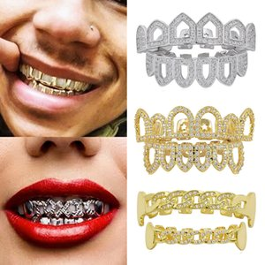 18K reales Gold Punk Hiphop-Diamant-Höhle Zähne Grillz Dental Mund Iced Out Fang Grills Zahnspange Tooth Cap Vampir Rapper Schmuck Großhandel
