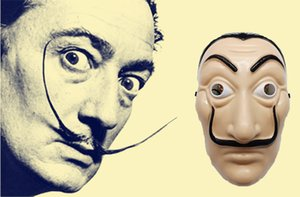 La Casa De Papel Maschera a pieno facciale in plastica Salvador Dali Costume Maschera per film per realistici Halloween Party Night Club