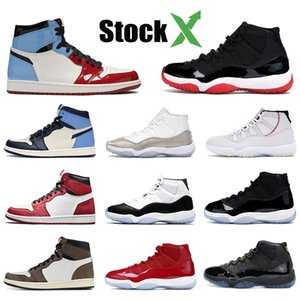 High 1 1s Mens OG scarpe da basket Fearless Concord 45 gamma allevato blu 11 11s unc Chicago vietato uomini jumpman seankers formatori 5-13