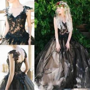Gotik Siyah Gelinlik V Yaka Retro Aplikler Dantel Gelinlik Vestido de Nova Custom Made