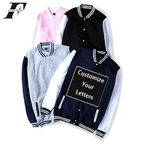 Kpop выполненная на заказ бейсбольной куртки бомбардировщик куртка Мужчины Женщина Unisex DIY Дизайн Uniform Толстовка Настройка Streetwear
