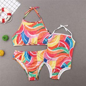 Coordinati genitore-figlio costume da bagno Madre Figlia femmina Famiglia colorato Sportswear Donna ragazze dei capretti Costumi da bagno costume da bagno Suits One-Piece