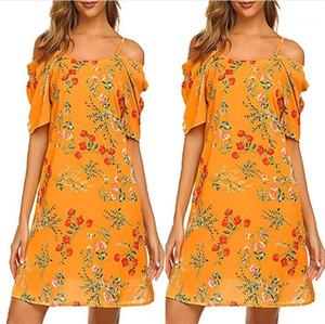 Bracelet en mousseline de soie Robes Femmes Casual Holiday Beach Vêtements Femmes Sexy Floral Print Designer Spaghetti Robe d'été