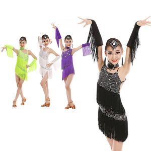 Kids Sequins Latin Dance Dress Women Fringe Dress Dress&gloves&earrings Competition/practice Cha Rumba Samba Salsa Dance