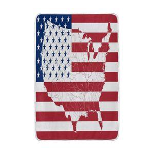 American Flag Map Blanket weiche warme gemütliche Bed Couch Leichte Polyester Mikrofaser-Decke für Kinder Frauen, Jungen,