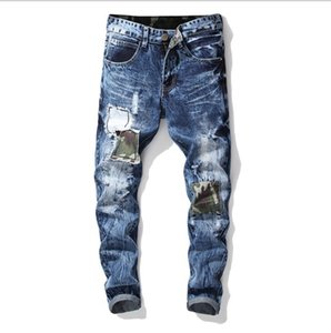 Mens Denim Jeans Biker Hot Fashion Washed Embroidery Badge Straight Fashion Jeans Large Size Free Shipping