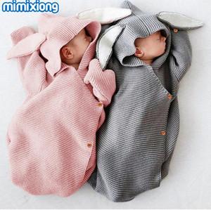 Детские спальные мешки прогулочная коляска зима теплая малышей Infantil Пеленальный Wrap Осень Кролик Вязаные Конверты для газоразрядных Новорожденный 0-6m