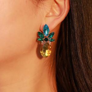 Hot Fashion Jewelry Donna Rhinstone Ananas Ciondola gli orecchini della signora Orecchini carino S315