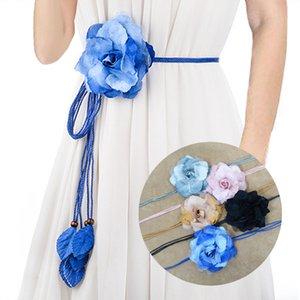 New Casual Wild Chiffon Big Flower Ladies Thin Belt Sweet Tassel Braid Decoration Elegant Handmade Flower Fine Womens Dress Belt