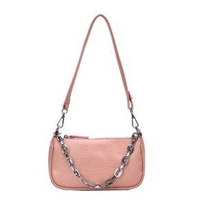 Сумки Женщины Цепи Lizard Pattern сумка плеча сумки Baguette Vintage Top Handle Женский Новая мода 2020