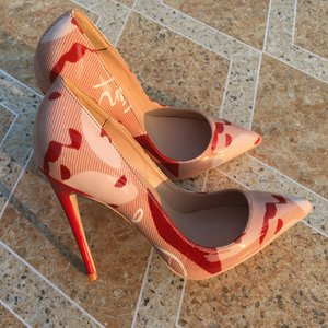 Bahar İndirimi boyutu 33-46 desiger yüksek topuklu tradingbear pompalar dip ayakkabı tek hakiki deri sivri kırmızı kırmızı