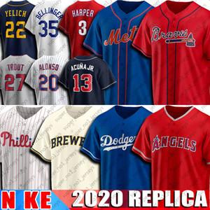 13 Ronald Acuna Jr. Jersey 20 Pete Alonso Jersey 22 Christian Yelich 35 Cody Bellinger 3 Bryce Harper 27 Mike Trout Baseball Jersey 2020