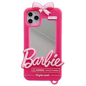 Luxury Girl Fashion Sweet Cute Pink Barbie Mirror Soft Silicone Case Cover For iPhone 12 Mini 11 Pro Max XS Max XR X 8 7 6 6S Plus SE