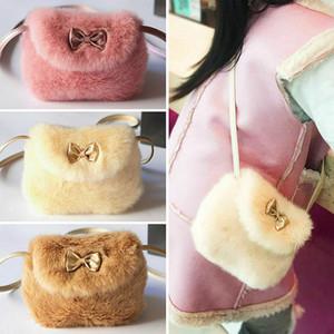Мягкий искусственный мех Детская сумка Мода Симпатичные ребёнки Мини Bowknot Crossbody Сумки небольшой мешок плеча Кошелек белый розовый мешок
