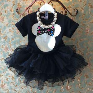 Baby Girl 2-6Years Criança Crianças dos desenhos animados MouseTops + Lace Tulle saia tutu Outfits Set Clothes (têm Colar)