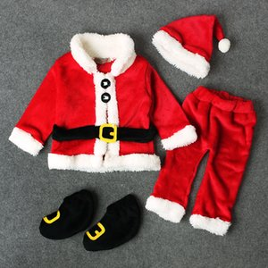 Hiver Garçons Filles Vêtements de Noël Ensembles 4PCS Costumes chaud épais Père Noël Costume Manteaux Toison + Pantalons + Chapeau + Chaussures Outfit Set