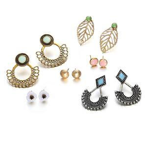 Leaf Flower Earring Sets Vintage Ear Studs Set Bohemian Stud Earrings for Women Girls Beach Holiday Wedding Jewelry Gift Christmas Gift