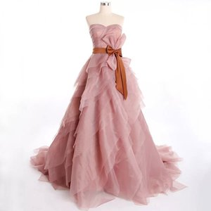 Romantic Blush Pink Tiered Evening Dresses 2020 With Bow Organza Evening Party Gowns Off Shoulder Plus Size Vestidos De Noiva Formal Wear