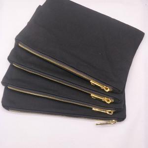 55pcs / lot 7x10in 12 Unzen schwarze Baumwolle Leinwand Make-up Tasche mit schwarzem Futter Gold Metall-Reißverschluss leeren Make-up Beutel direkt von der Fabrik auf Lager