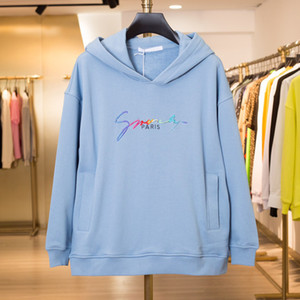 19SS Bleu À Capuche Arc En Ciel Graduel Logo Broderie À Capuche Sweatshirt De Mode Hoodies Hommes Femmes Casual Manteau HFLSWY312