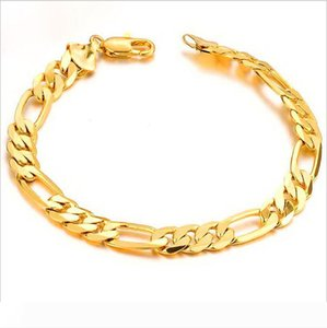 18K Gold Plated Chain Bracelets for Men 22cm Copper Cool Bracelet Charms Boys Hand Jewelry free shipping
