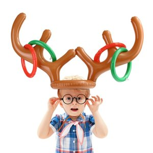Christmas Inflatable Funny Reindeer Antler Ring With Hat Christmas Holiday Party Headwear Decoration For Kids Color Random