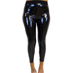 Дизайнер Sweatpants Повседневные брюки весна женщин Новый Матовый высокой талией Pu кожаные штаны черные гетры Упругие Брюки женские Одежда