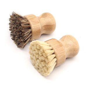 Handheld Wooden Handle escova redonda Pot Escova Sisal palma prato Chores bacia Pan Escovas de limpeza de cozinha Rub Lavagem Ferramenta LXL1109-1
