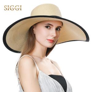 FANCET 여름 여자 비치 밀 짚 모자 넓은 물결 모양의 브림 캐주얼 패션 소프트 햇 모자 UPF50 + 보호 밀 짚 모자 16025 장착