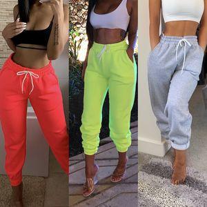 Mujeres de la manera señoras de chándal chándal Pantalones Pantalones de jogging pantalones deportivos Salón usar pantalones casuales color puro