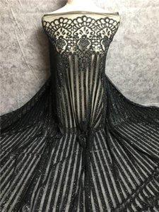 Französisch Net African Black Glitter Sequence Sequin-Spitze-Gewebe für Brautkleid Abendkleid 5 Yards Mesh-Tüll