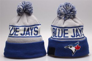 New Hombres Toronto Blue Hecha Punto Pomado Pom Beanie Hat La Rayas Sideline Gigantes Cálidos Basebé Beanie Cap Hombres Mujeres Bornet Gorros Sombrero Sombrero