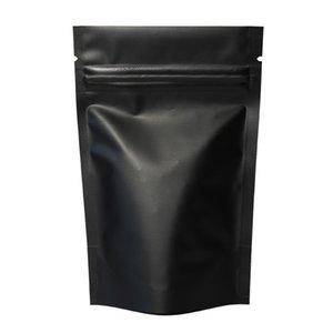High Quality Heat Seal Zip Lock Package Bags Aluminum Foil Mylar Tear Notch Matte Black Stand Up Bag Wholesale
