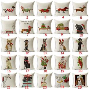 Noel Dachshund Tarzı Yastık Kapak Noel Baba Noel Köpek Noel Ev Dekoratif Yastıklar Kapak Merry Xmas Mevcut Yastık Kılıfı
