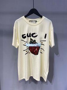 Diseño de lujo de las mujeres de las lentejuelas Carta fresa Jersey Camiseta de algodón Pista Pullover de moda las niñas Activewear Outwear tapas flojas camiseta Tee