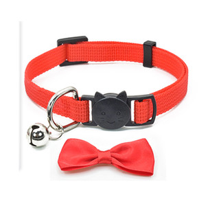 Ayarlanabilir Hayvan Köpek Yaka Bow Tie ile Bell Pet Boyun Aksesuar Kolye Yaka Köpek Saf Renk Pet ilmek Tasmalar Dekorasyon DBC DH2517