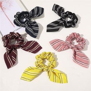 5 color stripe headband Bunny Ear Scrunchies Ponytail Holder hairbands Girl Elastic Knot Bow hair Bands hair accessories Wholesale