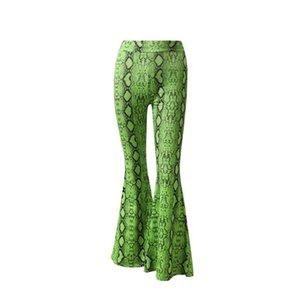 Sexy Snake Print Flare Leggings Fashion Summer Women High Waist Stretch Long Pants Sexy Bodycon Trousers Club Pants