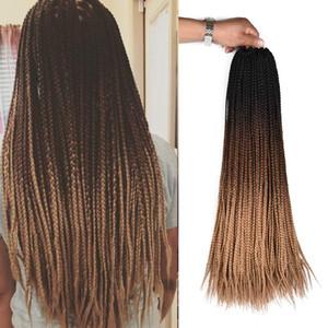 ¡Caliente! 24inch 22Strands Caja trenzas de pelo trenzado del ganchillo extensiones 100g Ombre Kanekalon sintético 3S ganchillo de la trenza de pelo para las mujeres Negro