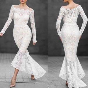 Women white Long Sleeve Boat Neck Lace Fishtail Evening Prom White Dress