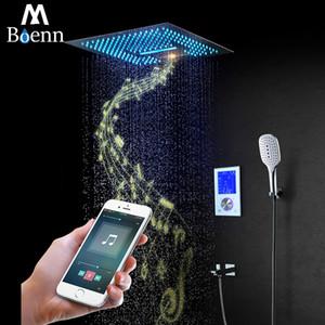 디지털 스마트 샤워 세트 터치 샤워 패널 강우 폭포있는 샤워기을 크롬 16 인치 뮤직 샤워는 광장을 설정합니다
