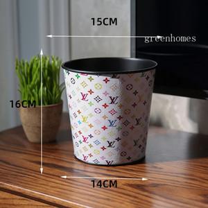 Classic White Fleurs Poubelle Imprimer luxe Paniers vieux papiers Mini bureau Garbage Can Fashion Pot Brosse