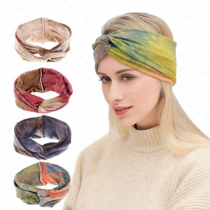 Les femmes Tie-Dyed bandeau élastique Croix Big Bow Bandeaux Yoga Fitness Run Sweat Band Cross Knot large bande Turban Bohême D62907 Foulard