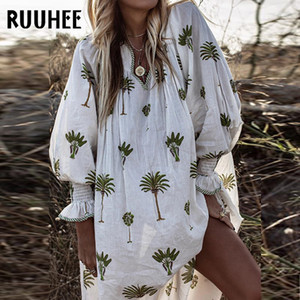 RUUHEE donne Cover-Up Palma Stampa Beach Dress Cotone Lino Casual Cover Up femminile costume da bagno costume da bagno del Beachwear dello Swimwear T200417