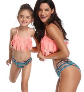 Swim aşınma püskül bölünmüş ebeveyn çocuk Mayo Bikini takım bölünmüş çocuklar kadınlar kızlar uçan seksi yakuda esnek şık Leopard Baskı bikini seti
